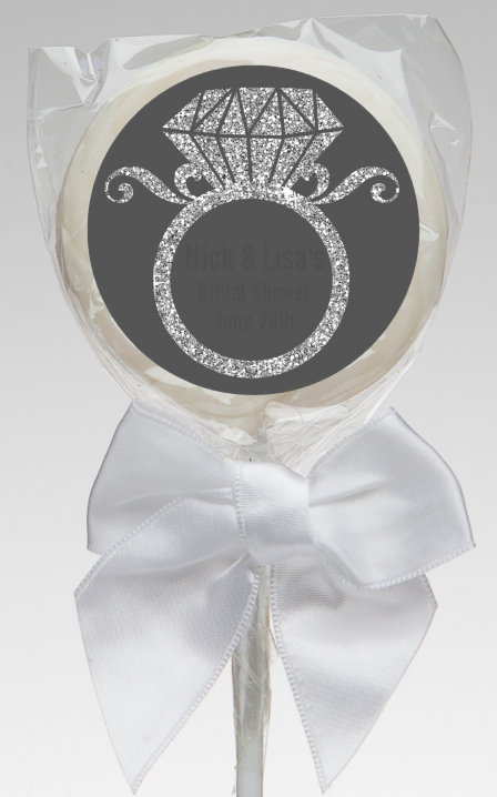 Engagement Ring Silver Glitter - Personalized Bridal Shower Lollipop Favors Option 1