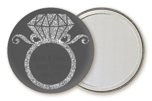 Engagement Ring Silver Glitter - Personalized Bridal Shower Pocket Mirror Favors Option 1