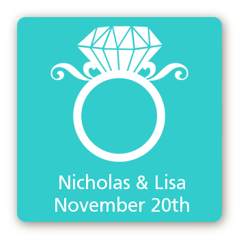 Engagement Ring - Square Personalized Bridal Shower Sticker Labels