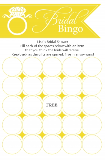 Engagement Ring Yellow - Bridal Shower Gift Bingo Game Card
