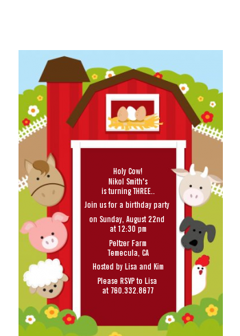 Farm Animals - Birthday Party Petite Invitations