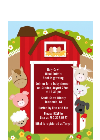 Farm Animals - Baby Shower Petite Invitations With Goat