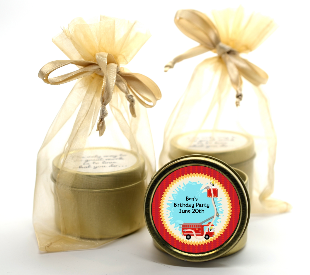 Fire Truck Gold Tin Candle Favors