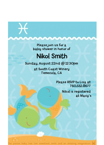 Fish | Pisces Horoscope - Baby Shower Petite Invitations