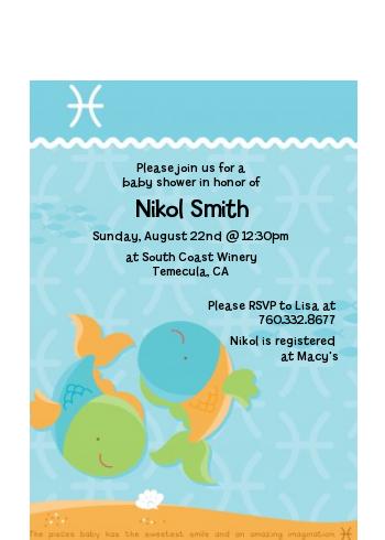 Fish Pisces Horoscope Baby Shower Petite Invitations