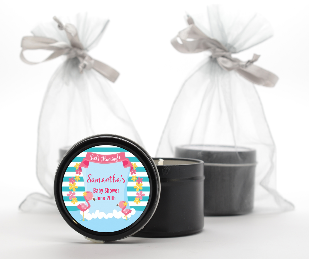 Flamingo - Baby Shower Black Candle Tin Favors Baby Shower