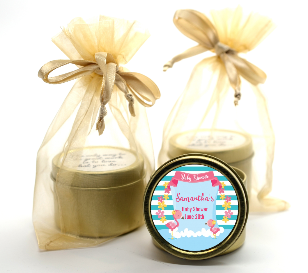 Flamingo - Baby Shower Gold Tin Candle Favors Baby Shower