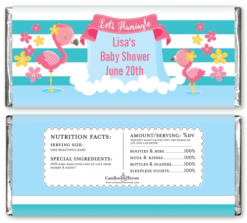 Flamingo - Personalized Baby Shower Candy Bar Wrappers Baby Shower