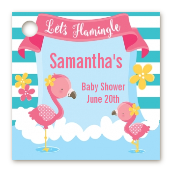 Flamingo - Personalized Baby Shower Card Stock Favor Tags Baby Shower
