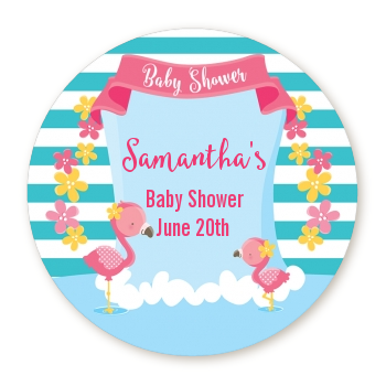 Flamingo - Round Personalized Baby Shower Sticker Labels Baby Shower