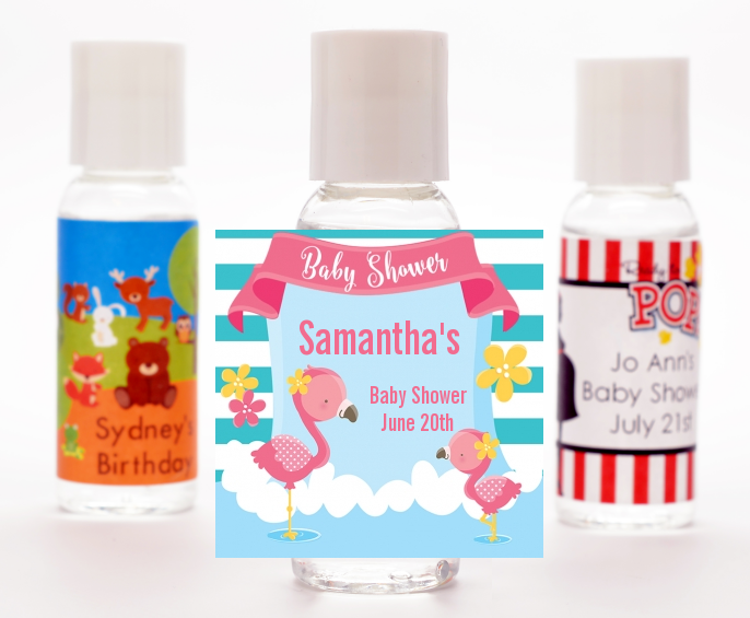 Flamingo - Personalized Baby Shower Hand Sanitizers Favors Baby Shower