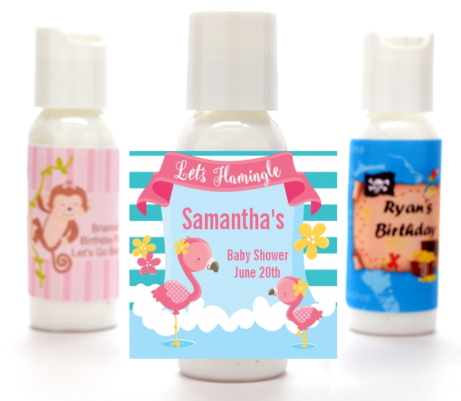 Flamingo - Personalized Baby Shower Lotion Favors Baby Shower