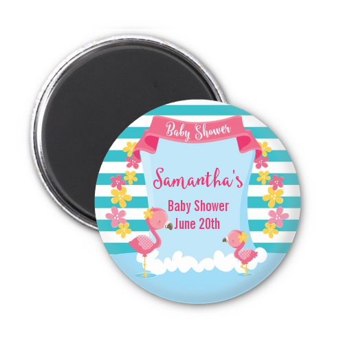 Flamingo Personalized Baby Shower Magnet Favors