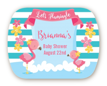 Flamingo - Personalized Baby Shower Rounded Corner Stickers Baby Shower