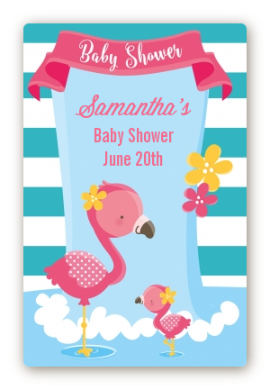 flamingo custom large rectangle baby shower sticker labels