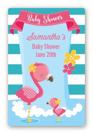 Flamingo   Custom Large Rectangle Baby Shower Sticker/Labels Baby Shower