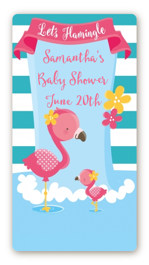 Flamingo - Custom Rectangle Baby Shower Sticker/Labels Baby Shower