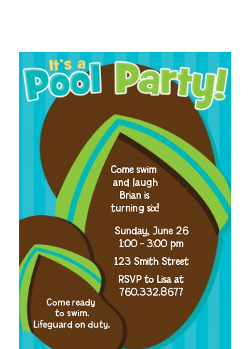 Flip Flops Boy Pool Party - Birthday Party Petite Invitations