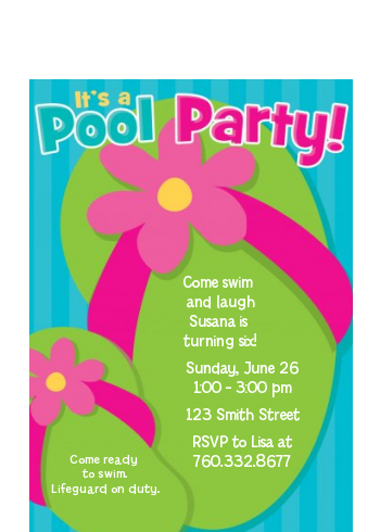 Flip Flops Girl Pool Party - Birthday Party Petite Invitations