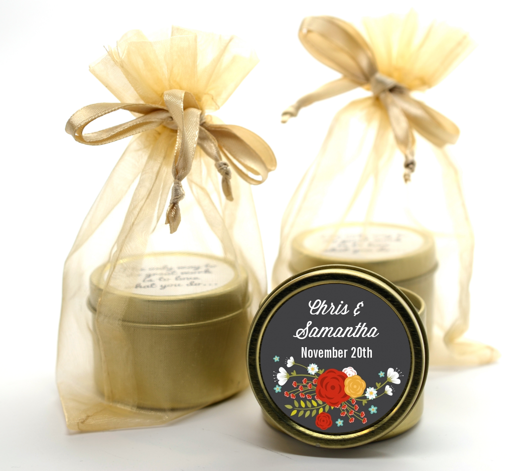 Floral Motif - Bridal Shower Gold Tin Candle Favors Option 1