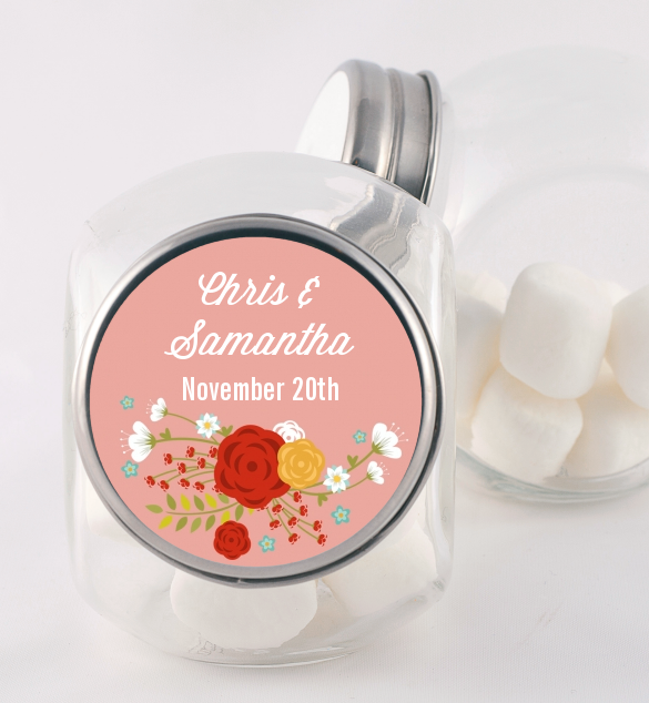 Floral Motif - Personalized Bridal Shower Candy Jar Option 1