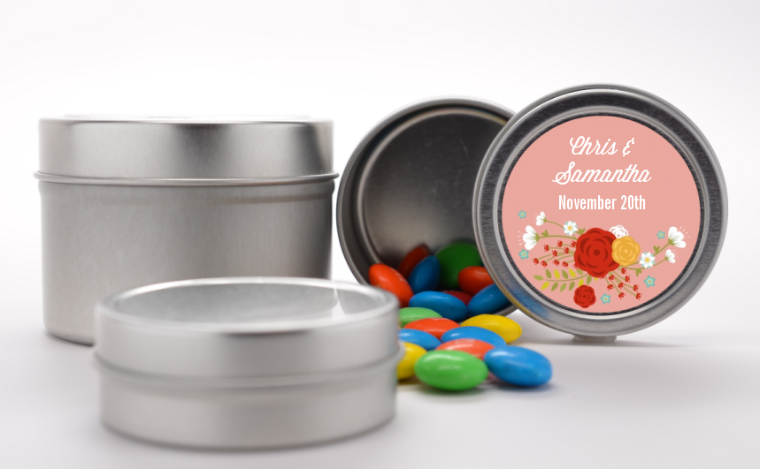 Floral Motif - Custom Bridal Shower Favor Tins Option 1