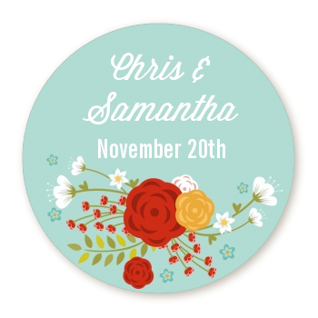 Floral Motif - Round Personalized Bridal Shower Sticker Labels Option 1