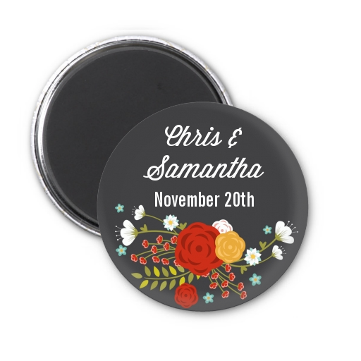 Floral Motif - Personalized Bridal Shower Magnet Favors Option 1