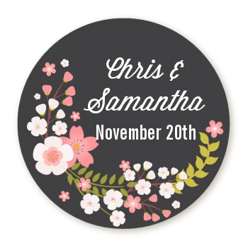Floral Motif Pink - Round Personalized Bridal Shower Sticker Labels Option 1