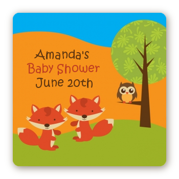 Forest Animals Twin Foxes - Square Personalized Baby Shower Sticker Labels