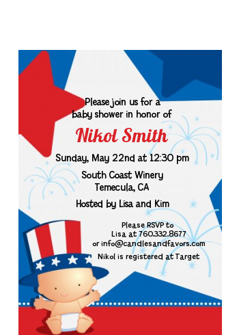 Fourth Of July Little Firecracker - Baby Shower Petite Invitations