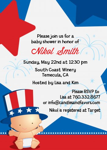 Fourth Of July Little Firecracker - Baby Shower Invitations