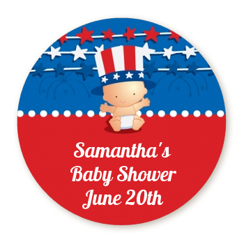 Fourth Of July Stars & Stripes - Round Personalized Baby Shower Sticker Labels