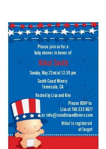 Fourth Of July Stars & Stripes - Baby Shower Petite Invitations