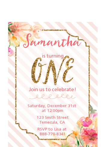 Fun to be One - 1st Birthday Girl - Birthday Party Petite Invitations