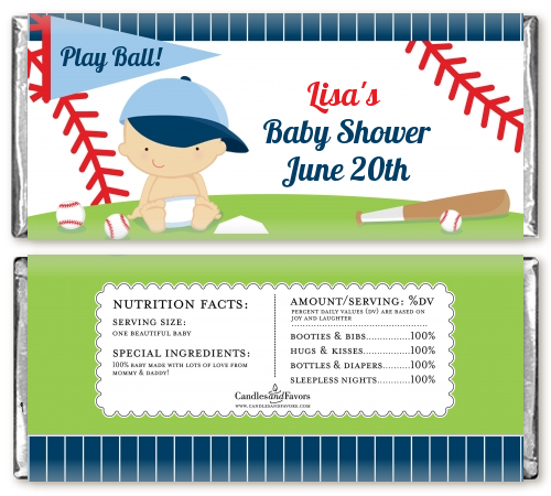 Future Baseball Player - Personalized Baby Shower Candy Bar Wrappers Caucasian