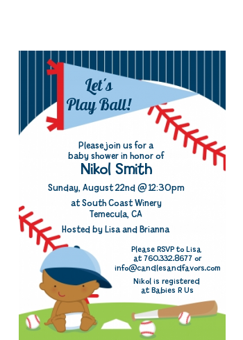 Future Baseball Player - Baby Shower Petite Invitations Caucasian