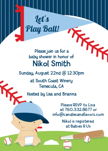 future baseball player baby shower invitations  candles and favors, Baby shower invitations