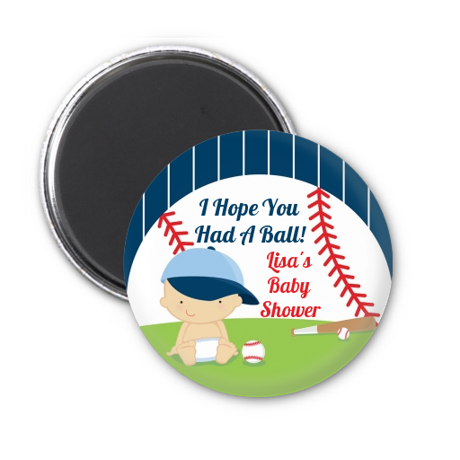 Future Baseball Player - Personalized Baby Shower Magnet Favors Caucasian