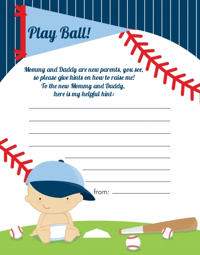 Future Baseball Player - Baby Shower Notes of Advice Caucasian