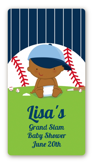 Future Baseball Player - Custom Rectangle Baby Shower Sticker/Labels Caucasian