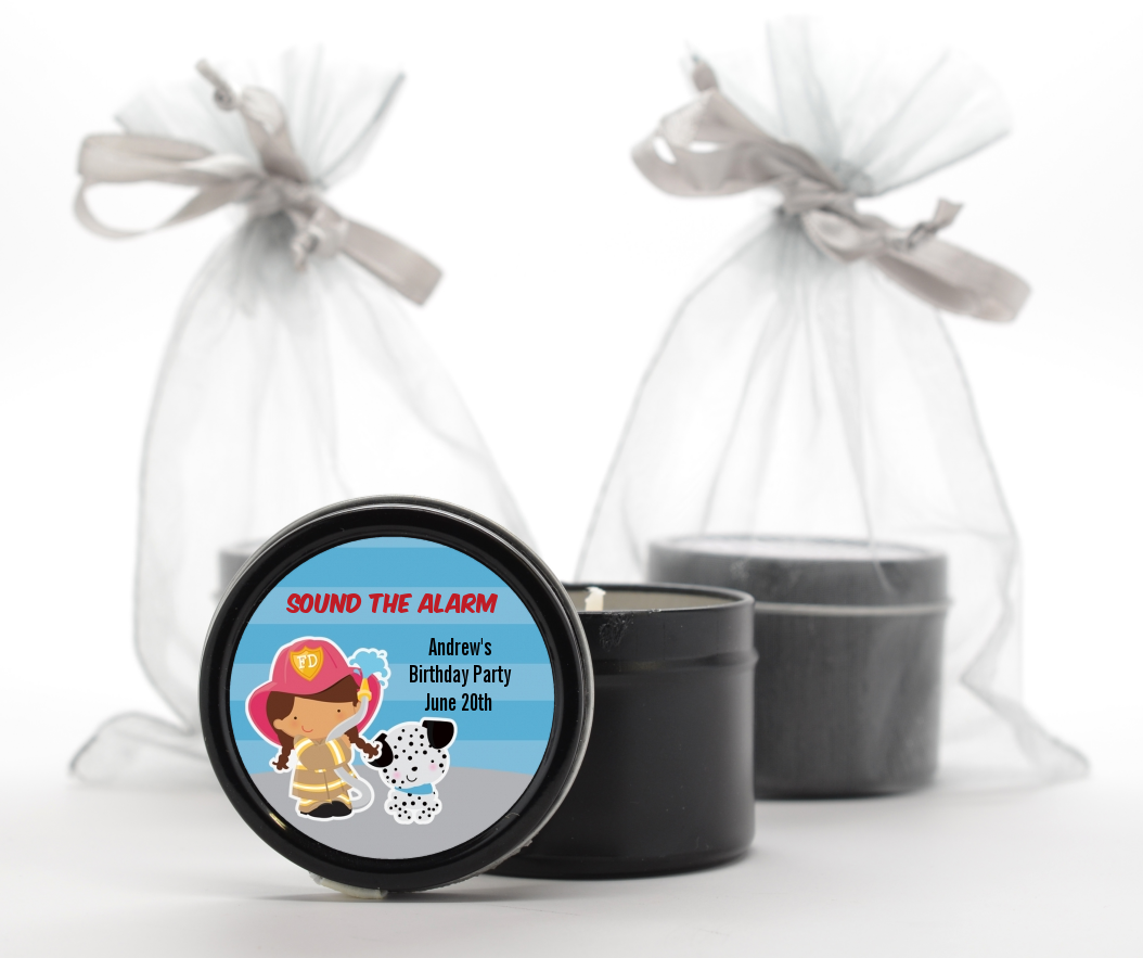 Future Firefighter - Birthday Party Black Candle Tin Favors Caucasian Boy