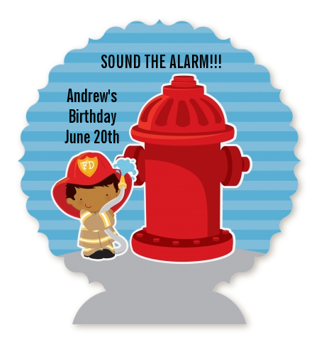 Future Firefighter - Personalized Birthday Party Centerpiece Stand Caucasian Boy