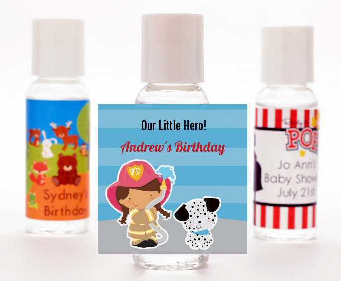 Future Firefighter - Personalized Birthday Party Hand Sanitizers Favors Caucasian Boy