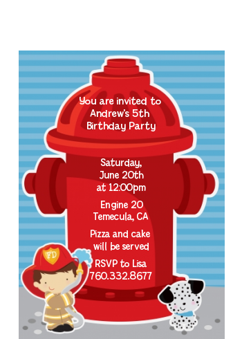 Future Firefighter - Birthday Party Petite Invitations Caucasian Boy