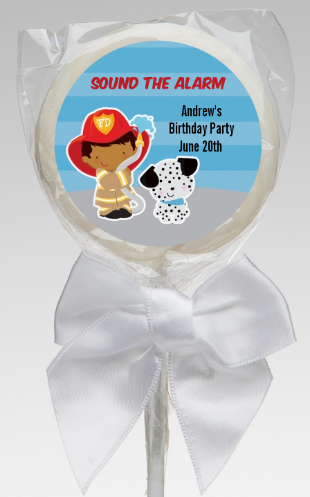Future Firefighter - Personalized Birthday Party Lollipop Favors Caucasian Boy