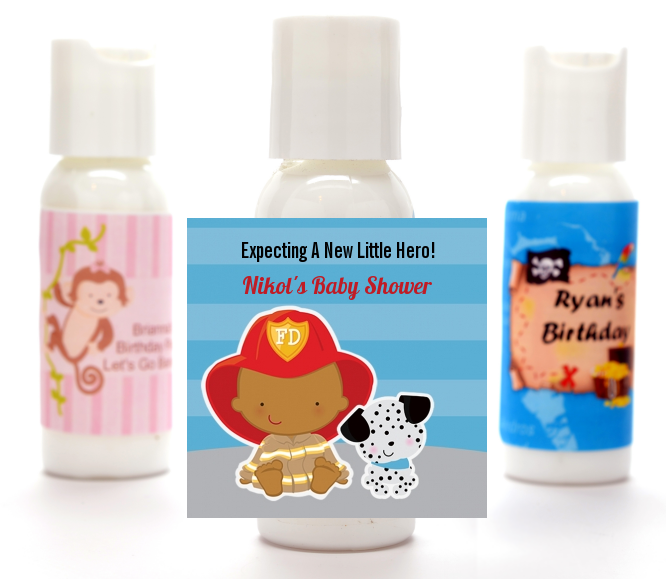 Future Firefighter - Personalized Baby Shower Lotion Favors Caucasian