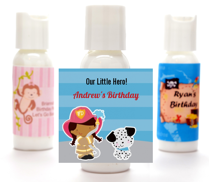 Future Firefighter - Personalized Birthday Party Lotion Favors Caucasian Boy