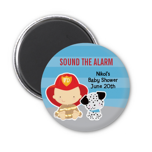 Future Firefighter - Personalized Baby Shower Magnet Favors Caucasian