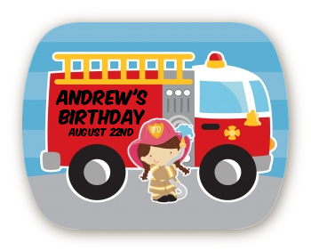 Future Firefighter - Personalized Birthday Party Rounded Corner Stickers Caucasian Boy